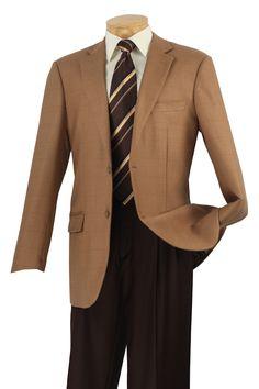 Vinci Mens Wool Sport Coat Camel Plaid  WB-05