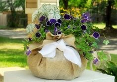 pansies and burlap (use purple and gold ribbon)