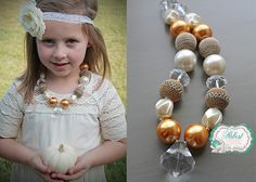 Creamy Pumpkin little girls chunky necklace by PalestPink