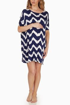 Navy-Blue-White-Wave-Print-Maternity-Sleep-Shirt #maternity #fashion