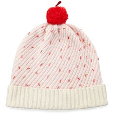 kate spade new york cupcake beaded beanie hat ($77) ❤ liked on Polyvore featuring accessories, hats, pink, slouchy beanie, pom pom beanie, pom pom beanie hat, pink beanie hat and slouch hat