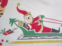 RARE Vintage Tablecloth Christmas Santa Claus by NeatoKeen on Etsy, $112.00