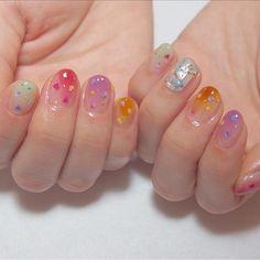 Tropical nails are cute in early summer - Nail Art Designs - Cute Acrylic Nails, Cute Nails, Pretty Nails, Glitter Nails, Korean Nail Art, Korean Nails, Nail Swag, Minimalist Nails, Nail Art Designs