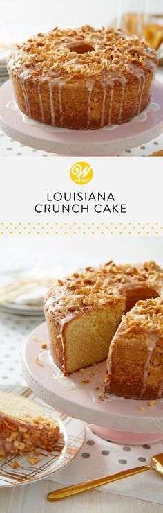 This tasty Louisiana Crunch Cake recipe is the pound cake recipe you've been searching for! The mix of coconut and cashews make for a delicious flavor! #wiltoncakes #brunch #brunchcake #springbrunch #sundaybrunch #champagnebrunch #breakfast #lunch #brunchideas #brunchclassics #brunching #brunchy #brunchsohard #brunchdate #louisiana #crunchcake #recipes
