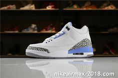 8fccdf7c835541 Air Jordan 3 Retro UNC PE 820078 Mens Sneakers White Blue Gray Air Jordan 3
