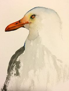 watercolor bird painting bird art original watercolor Seagull by bMoorearts on Etsy