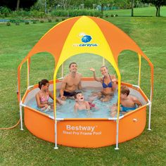 Kids and adults alike will enjoy the outdoors with the Bestway Splash-in-Shade Play Pool. Bestway Splash-in-Shade Play Pool. Valve attaches to garden hose so water can be drained away from the pool area. Play Pool, Kid Pool, Play Gym, Parasol, Outdoor Toys, Outdoor Play, Outdoor Camping, Cabrio Dome, Inflatable Baby Pool