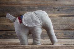 Gray Stuffed Elephant Soft Plush Toy Baby Nursery Decor Handmade Plushie Waldorf Toy Linen Animal Eco friendly Shower Gift (15.00 USD) by NaturalHomeTreasures