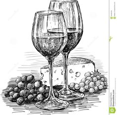 Wine Glasses And Cheese Royalty Free Stock Image – Image: 30409156 – Lisa Finlay – # … - Zeichnung Still Life Sketch, Still Life Drawing, Pencil Art Drawings, Art Drawings Sketches, Ink Illustrations, Wine Glass Drawing, Cheese Drawing, Stylo Art, Object Drawing