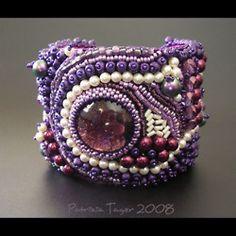 beaded purple cuff