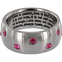 1st Corinthians Rhinestone Ring at The Breast Cancer Site
