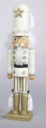 Hollywood Decorative White Glittered Soldier Wooden Christmas Nutcracker