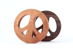 organic wood RATTLE - peace sign teether toy for hip baby - natural montessori wooden toy, eco-friendly - we donate to the US Peace Corps