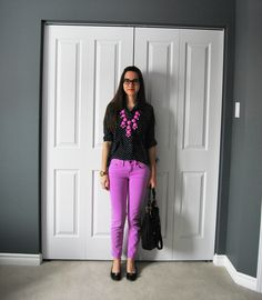 Ruffles & Sequins || a style blog:  neon violet pants, polka-dot top, and bubble necklace