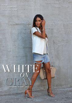 Veste en cuir blanche sans manches steele p/été 2013/teeshirt ragdoll la p/été 2013/ jupe levis vintage/ sac celine- juin 2013