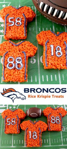 These Denver Broncos Rice Krispie Treats Team Jerseys are a fun football dessert for a game day football party, an NFL playoff party, a Super Bowl party or as a special snack for the Denver Broncos fans in your life. Go Broncos! And follow us for more fun Super Bowl Food Ideas.