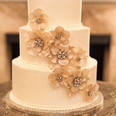 Gold and crystal wedding cake
