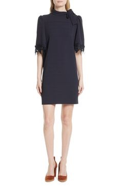 Main Image - See by Chloé Lace Trim Tie Neck Dress