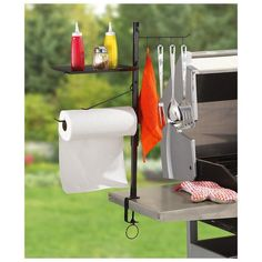 BBQ Accessory Organizer Stand Tool Rack Steel Cook Camping Grill Utensil Holder for sale online Camping Grill, Camping Kitchen, Camping Cooking, Camping Tips, Condiment Holder, Utensil Holder, Towel Holder, Utensil Organizer, Barbecue Grill