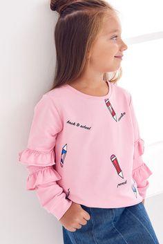 Pembe Baskılı Fırfır Detaylı Kız Çocuk Sweatshirt Cute Girl Outfits, Kids Outfits, Cute Baby Clothes, Doll Clothes, Girls Shirt Pattern, Shirts For Girls, Clothing Patterns, Boy Fashion, Kids Girls