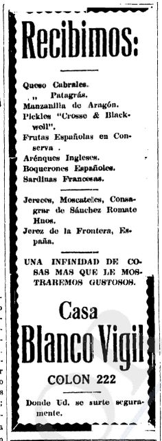 1920 - Anuncio de comestibles.  Anuncio publicado en el Informador Guadalajara, Jalisco México
