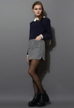 Pearly Peter Pan Collar Top in Navy Blue - New Arrivals - Retro, Indie and Unique Fashion