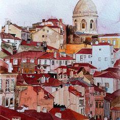 Lisbon, Portugal // aguarela de Jo-anne Corteza