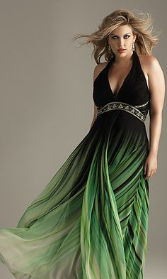 Low cut V-neck ruched halter top...sparkling beads and stones at the empire waist.... full length skirt & flowing ombre chiffon overlay ... Plus Sizes - $169