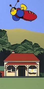 Iconic NZ things buzzy bee and a house, by Robin White, NZ New Zealand Image, New Zealand Art, New Zealand Houses, Nz Art, Maori Art, Kiwiana, Stationery Design, Unique Art, Printmaking