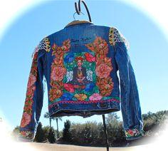 Boho Frida Kahlo Jean Jacket Gypsy Child Hippie Baby Woodstock Style by IzzyRoo on Etsy