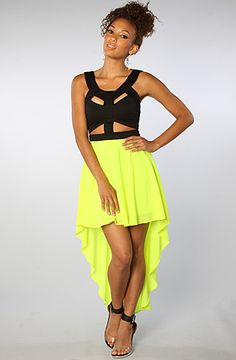 The Cut Out Dress in Neon Yellow by Reverse (Get 20% off everything at karmaloop.com with rep code BIATCH)