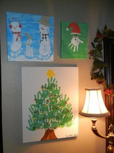 Hand Print Art - 10 Easy Kids Christmas Crafts!   canvases are so cheap too but 24 kids?!? i don't know....