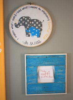 I like the Dr Seuss quote and the embroidery hanging idea