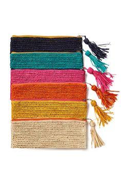 Emily Crocheted Raffia Clutch