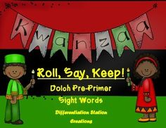 Kwanzaa: Pre-Primer Dolch sight word game, center, printables, and word wall.  Kindergarten, 1st grade, special education, RtI, homeschool. $