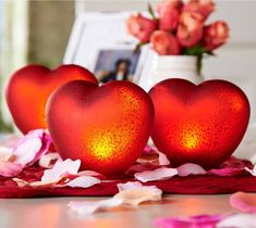 H210519 Set of 3 Illuminated Mercury Glass Hearts. Choice of red, pink or frost. http://qvc.co/ValerieParrHill