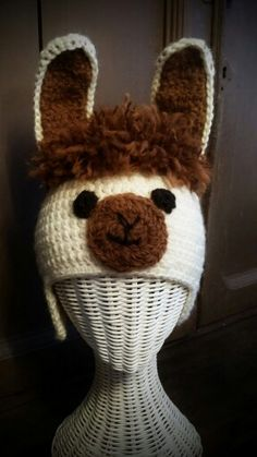 Crocheted llama hat free pattern from  http://www.ravelry.com/patterns/library/llama---alpaca-hat