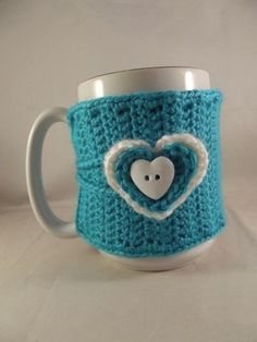 Valentines Day Crochet Teal Coffee Mug Cup Cozy by kokadoodle3