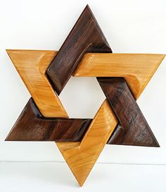 """***STAR OF DAVID*** Star of David created in an intarsia format. utilizing contrasting woods. Size is approximately 9"""" x 8"""". This item was designed, and handcrafted by Seneca Wood Art. Price is $25. Contact for purchase and shipping cost. Facebook.com/SenecaWoodArt"""