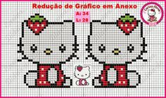 Hello Kitty strawberry perler bead pattern