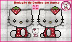 Hello Kitty strawberry perler bead pattern