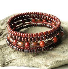 Stacked bead bracelets gemstone glass & wood by dalystudios