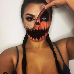Scary Half Pumpkin Face Halloween Makeup Idea