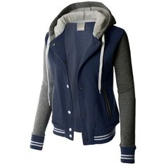 LE3NO PREMIUM Womens Contrast Sleeve Fleece Varsity Baseball Hoodie... ❤ liked on Polyvore featuring outerwear, jackets, color block jacket, hooded baseball jacket, blue baseball jacket, fleece jacket and striped jacket