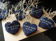 Hey, I found this really awesome Etsy listing at http://www.etsy.com/listing/104938449/denim-wedding-favor-personalized-heart