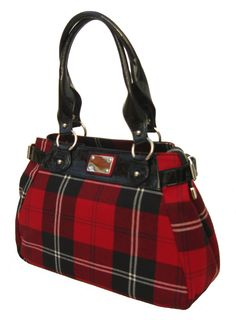 Ramsay Red Tartan Handbag with leather trims