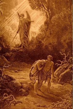 Adam and Eve cast out - Gustave Dore Gustave Dore, Adam Et Eve, La Sainte Bible, Bible Questions, Arte Obscura, Ange Demon, Biblical Art, Arte Horror, Of Mice And Men