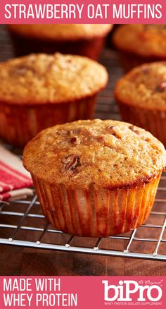Strawberry Oat Muffins made with BiPro Whey Protein