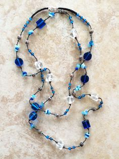 Glass Beads Necklace, Wood Beads, Boho Necklace, Bohemian Necklace, Knotted Necklace, Colorful, Rustic, Blue Necklace, Stone Chips