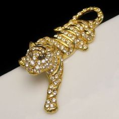 Trifari Large Figural Tiger Brooch Pin Pave Set Rhinestones Gray Marquise, from http://stores.ebay.com/My-Classic-Jewelry-Shop. This stunning and rare large vintage tiger brooch sparkles so brightly - great for a Christmas outfit!